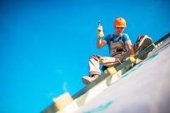 议院屋顶建筑工作 免版税图库摄影