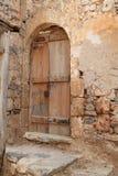 议院废墟,史宾纳隆加岛麻疯病患者殖民地堡垒, Elounda,克利特 免版税库存图片