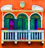议院窗口,威尼斯,意大利 免版税库存照片