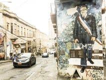 议院被盖在五颜六色的街道画下,用Preside的图象 库存照片