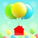 议院象和色的气球 免版税库存图片