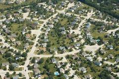 议院,家,郊区鸟瞰图  免版税库存照片
