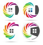 议院,房地产,圈子家,商标,套彩虹colorize大厦标志象传染媒介设计 免版税库存图片