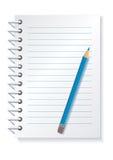 记事本铅笔 免版税库存照片