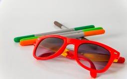 记号笔,红色,绿色,橙色和棕色,设置了颜色highlighte 免版税库存照片