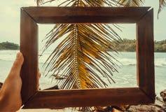 记忆的照片框架关于在美丽的海洋海滩的假日与棕榈树 与波浪的热带风景 免版税库存照片