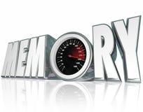 记忆3d改进回忆精神健康的词车速表 库存照片