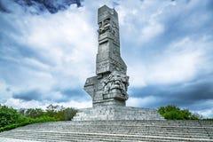 以记念波兰防御者的Westerplatte纪念碑 免版税图库摄影