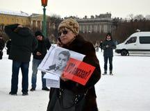 以记念鲍里斯・涅姆佐夫的3月在圣彼德堡 免版税库存照片