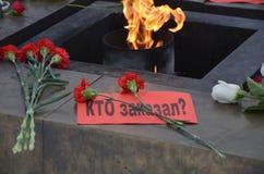 以记念鲍里斯・涅姆佐夫的3月在圣彼德堡 图库摄影