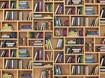 登记概念教育查出的老 书和课本在书架 库存例证