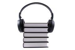 登记耳机 音频书概念 免版税图库摄影