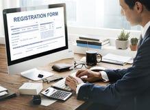登记表应用信息概念 免版税库存照片