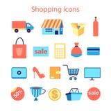 刻记被策划的图标例证集合购物样式向量 免版税库存图片