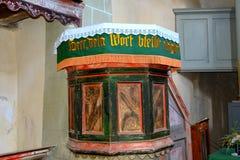 讲坛加强,撒克逊人,中世纪教会在村庄Viscri,特兰西瓦尼亚 库存照片