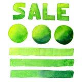 讲泡影、横幅和题字销售绿色水彩集合 免版税图库摄影