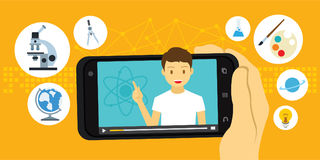 讲解和电子教学教育录影通过流动智能手机 图库摄影