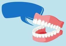 讲话与干净的牙的泡影模板 库存例证