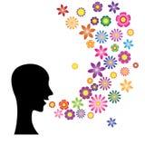 讲话与花语言 库存图片