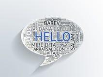 讲话泡影与你好用不同的语言 免版税库存照片