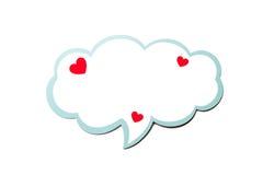 讲话泡影作为与在白色背景隔绝的蓝色边界的一朵云彩 复制空间 免版税库存图片
