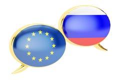 讲话泡影, EU俄罗斯交谈概念 3d翻译 皇族释放例证