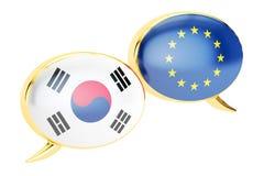 讲话泡影, EU南部韩国交谈概念 3D renderin 皇族释放例证
