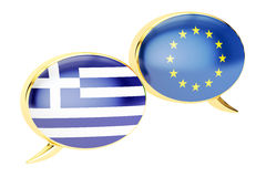 讲话泡影, EU希腊交谈概念 3d翻译 库存例证