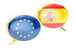 讲话泡影, EU西班牙交谈概念 3d翻译 皇族释放例证