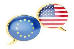 讲话泡影, EU-USA交谈概念 3d翻译 免版税库存图片