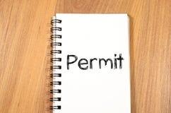 许可证在笔记本写 图库摄影