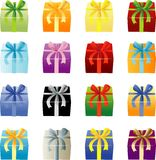 许多上色Giftboxes 免版税图库摄影