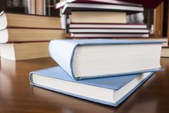 许多不同大小色的和被塑造的书 免版税图库摄影