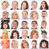 许多不同的愉快的人面拼贴画  免版税图库摄影