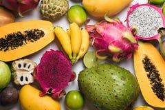 从许多不同的果子的背景 免版税图库摄影