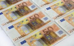 许多不同的欧洲钞票 免版税库存图片