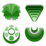 许多不同的绿色商标品牌想法 免版税库存图片