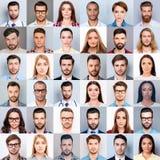 许多不同,不同种族的人` s关闭拼贴画头的,美丽,有吸引力,英俊,被集中的相当表达, t 免版税库存照片