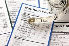 许多与卷尺的营养事实 免版税图库摄影