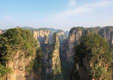 许多与森林的峭壁在连队mansan张家界 库存图片