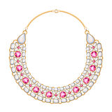 许多与珍珠和红宝石的链子金黄金属项链 库存图片