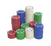 许多与裁减路线的赌博娱乐场芯片 库存图片
