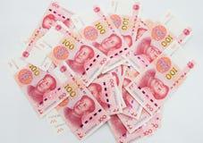 许多中国100 RMB元笔记 免版税库存照片