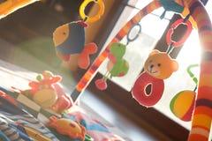 许多五颜六色的婴孩玩具 免版税库存图片