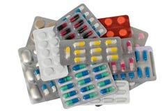 许多五颜六色的药片、片剂、药物和配药物质 免版税库存图片