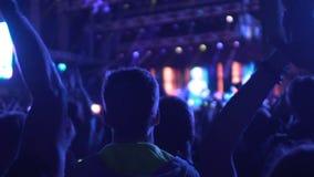 许多人民鼓掌对普遍的歌手的在音乐会,享受音乐展示的公众 股票录像
