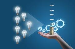 许多企业想法在高效率和有益的事务进行 库存图片