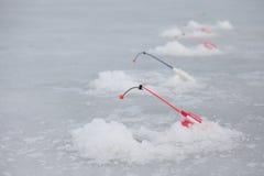 许多冰在池塘的fishinng标尺 库存图片