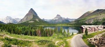 许多冰川全景(蒙大拿;美国) 库存照片