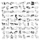 许多动画片动物的大收藏在传染媒介的 免版税库存照片